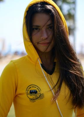 Sudadera surfera de mujer - On The Road Again -  Amarillo