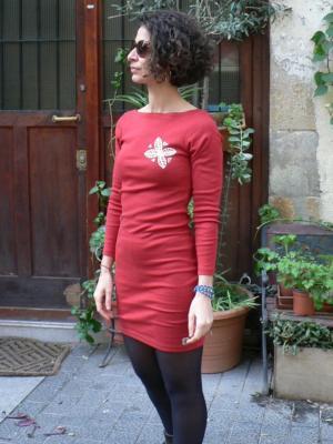 4dcc316c2 Vestido rojo de manga larga de algodón RIBS